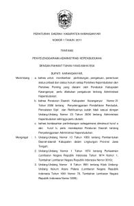 RANCANGAN PERATURAN DAERAH KABUPATEN KARANGANYAR NOMOR 1 TAHUN 2011 TENTANG PENYELENGGARAAN ADMINISTRASI KEPENDUDUKAN