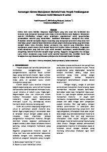 Rancangan Sistem Manajemen Material Pada Proyek Pembangunan Perluasan Hotel Mercure 8 Lantai