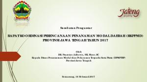 RAPAT KOORDINASI PERENCANAAN PENANAMAN MODAL DAERAH (RKPPMD) PROVINSI JAWA TENGAH TAHUN 2017