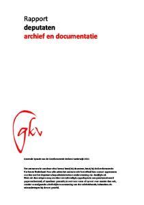 Rapport deputaten archief en documentatie
