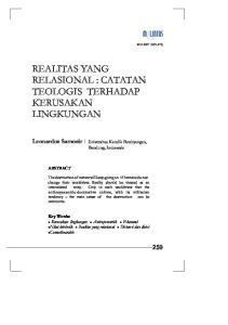REALITAS YANG RELASIONAL : CATATAN TEOLOGIS TERHADAP KERUSAKAN LINGKUNGAN