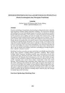 REFLEKSI EPISTIMOLOGI DALAM METODOLOGI PENELITIAN (Suatu Kontemplasi atas Pekerjaan Penelitian)