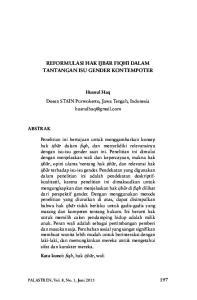 Reformulasi Hak Ijba>R Fiqhi> Dalam