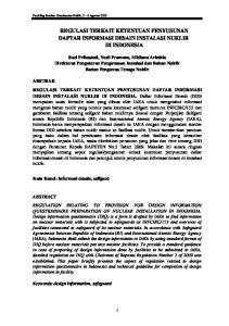 REGULASI TERKAIT KETENTUAN PENYUSUNAN DAFTAR INFORMASI DESAIN INSTALASI NUKLIR DI INDONESIA