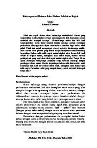 Reinterpretasi Hukum Saksi Dalam Talak dan Rujuk. Oleh: Ahmad Zumaro 1. Abstrak