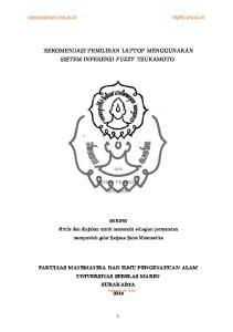 REKOMENDASI PEMILIHAN LAPTOP MENGGUNAKAN SISTEM INFERENSI FUZZY TSUKAMOTO