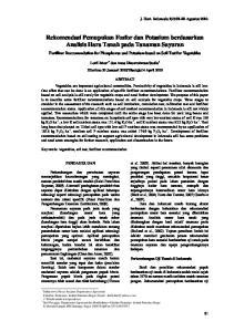 Rekomendasi Pemupukan Fosfor dan Potasium berdasarkan Analisis Hara Tanah pada Tanaman Sayuran