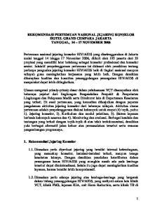 REKOMENDASI PERTEMUAN NASIONAL JEJARING KONSELOR HOTEL GRAND CEMPAKA JAKARTA TANGGAL, NOVEMBER 2006