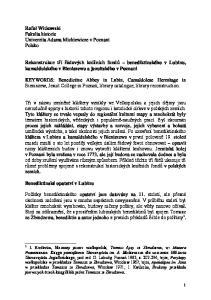 Rekonstrukce tří řádových knižních fondů benediktinského v Lubinu, kamaldulského v Bieniszewu a jezuitského v Poznani