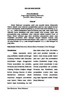 RELASI REKURENSI. Heru Kurniawan Program Studi Pendidikan Matematika Jalan KHA. Dahlan 3 Purworejo. Abstrak