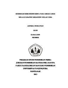 REMEDIASI MISKONSEPSI SISWA PADA GERAK LURUS MELALUI GRAPHIC ORGANIZER KELAS X SMA ARTIKEL PENELITIAN OLEH KAMALUDIN F