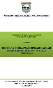 RENCANA KERJA PEMERINTAH DAERAH (RKPD) KABUPATEN PASAMAN BARAT TAHUN 2014