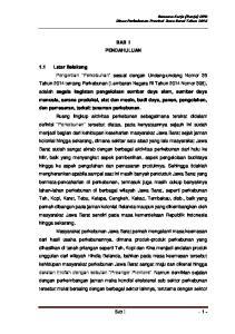 Rencana Kerja (Renja) OPD Dinas Perkebunan Provinsi Jawa Barat Tahun 2016 BAB I PENDAHULUAN