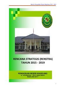 RENCANA STRATEGIS (RENSTRA) TAHUN PENGADILAN NEGERI MAGELANG. Renstra Pengadilan Negeri Magelang
