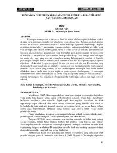 RENUNGAN DIJADIKAN SEBAGAI METODE PEMBELAJARAN MENULIS SASTRA SISWA DI SEKOLAH. Oleh: Khoirul Fajri STKIP NU Indramayu, Jawa Barat
