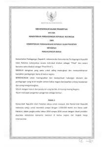 REPUBLIK INDONESIA MEMORANDUM SALING PENGERTIAN ANT ARA KEMENTERIAN PEROAGANGAN REPUBLIK INDONESIA DAN