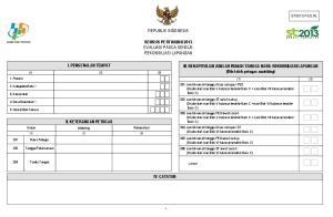 REPUBLIK INDONESIA SENSUS PERTANIAN 2013 EVALUASI PASCA SENSUS REKONSILIASI LAPANGAN