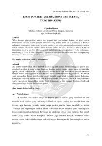 RESEP DOKTER: ANTARA MEDIS DAN BUDAYA YANG TIDAK ETIS