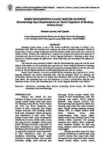 RESEP KEPEMIMPINAN SANG DOKTER BANDENG (Fenomenologi Gaya Kepemimpinan dr. Daniel Nugroho S. di Bandeng Juwana Grup)