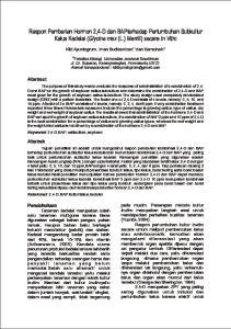 Respon Pemberian Hormon 2,4-D dan BAPterhadap Pertumbuhan Subkultur Kalus Kedelai (Glycine max (L.) Merrill) secara In Vitro