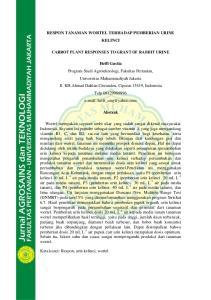 RESPON TANAMAN WORTEL TERHADAP PEMBERIAN URINE KELINCI CARROT PLANT RESPONSES TO GRANT OF RABBIT URINE