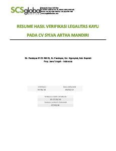 RESUME HASIL VERIFIKASI LEGALITAS KAYU PADA CV SYLVA ARTHA MANDIRI