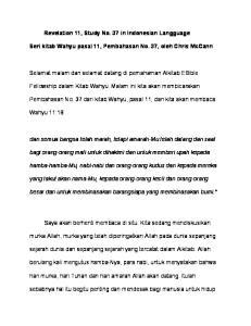 Revelation 11, Study No. 37 in Indonesian Langguage. Seri kitab Wahyu pasal 11, Pembahasan No. 37, oleh Chris McCann