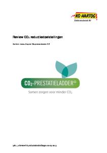 Review CO2 reductiedoelstellingen. Conform niveau 5 op de CO2-prestatieladder 2.2