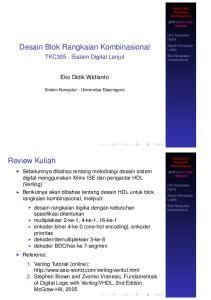 Review Kuliah. TKC305 - Sistem Digital Lanjut. Eko Didik Widianto