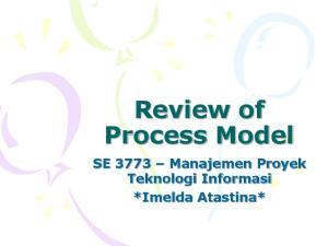 Review of Process Model. SE 3773 Manajemen Proyek Teknologi Informasi *Imelda Atastina*