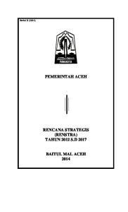 Revisi II (2014) PEMERINTAH ACEH RENCANA STRATEGIS (RENSTRA) TAHUN 2012 S.D 2017