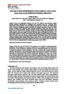 REWARD POWER KEPEMIMPINAN SITUASIONAL DAN EXTRA ROLE BEHAVIOR TERHADAP KINERJA PEGAWAI