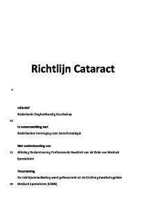 Richtlijn Cataract. Afdeling Ondersteuning Professionele Kwaliteit van de Orde van Medisch Specialisten
