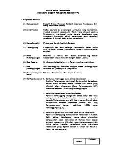 RINGKASAN INFORMASI INHEALTH GROUP PERSONAL ACCIDENT*) PT Asuransi Jiwa Inhealth Indonesia