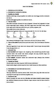 Ringkasan Statistika Kelas XI SMA Tarakanita 1 Jakarta BAB I STATISTIKA