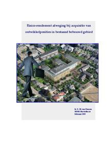 Risico-rendement afweging bij acquisitie van ontwikkelposities in bestaand bebouwd gebied