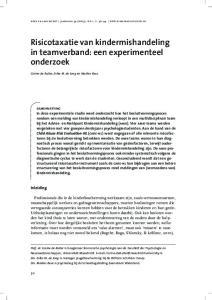 Risicotaxatie van kindermishandeling in teamverband: een experimenteel onderzoek