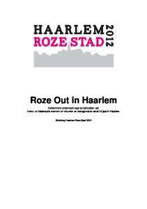 Roze Out in Haarlem. Verkennend onderzoek naar de behoeften van homo- en biseksuele mannen en vrouwen en transgenders vanaf 55 jaar in Haarlem