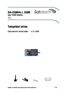 SA-GSMALL GSM ipari GSM átjelző. Telepítési leírás. Dokumentum verzió szám: