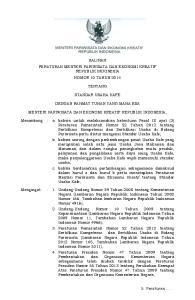 SALINAN PERATURAN MENTERI PARIWISATA DAN EKONOMI KREATIF REPUBLIK INDONESIA NOMOR 10 TAHUN 2014 TENTANG STANDAR USAHA KAFE