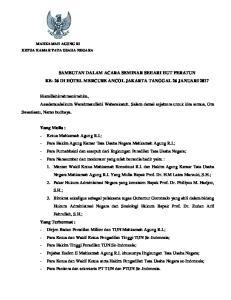 SAMBUTAN DALAM ACARA SEMINAR SEHARI HUT PERATUN KE- 26 DI HOTEL MERCURE ANCOL JAKARTA TANGGAL 26 JANUARI 2017