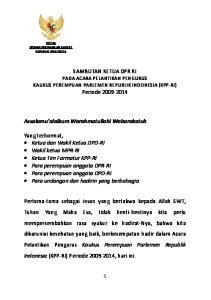 SAMBUTAN KETUA DPR RI PADA ACARA PELANTIKAN PENGURUS KAUKUS PEREMPUAN PARLEMEN REPUBLIK INDONESIA (KPP-RI) Periode