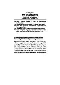 SAMBUTAN MENTERI PERINDUSTRIAN PADA ACARA PEMBUKAAN PAMERAN BATU MULIA JAKARTA, April 2015
