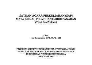 SATUAN ACARA PERKULIAHAN (SAP) MATA KULIAH PELATIHAN CABOR PANAHAN (Teori dan Praktek)
