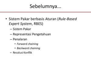 Sebelumnya... Sistem Pakar berbasis Aturan (Rule-Based Expert System, RBES) Sistem Pakar Representasi Pengetahuan Penalaran