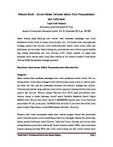 Sebuah Studi : Jurnal Akses Terbuka dalam Ilmu Perpustakaan dan Informasi