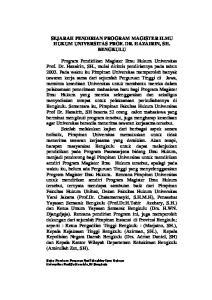 SEJARAH PENDIRIAN PROGRAM MAGISTER ILMU HUKUM UNIVERSITAS PROF. DR. HAZAIRIN, SH. BENGKULU