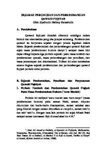 SEJARAH PERUMUSAN DAN PERKEMBANGAN QAWAID FIQIYAH Oleh: Syafrudin Halimy Kamaludin