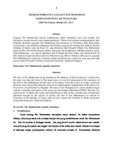 SEJARAH TIMBULNYA GAGASAN NUR MUHAMMAD SAMPAI MASUKNYA KE NUSANTARA Oleh Nur Fauzan Ahmad, S.S., M.A. i