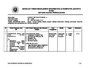 SEKOLAH TINGGI MANAJEMEN INFORMATIKA & KOMPUTER JAKARTA STI&K SATUAN ACARA PERKULIAHAN